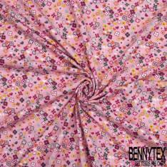 Jersey Coton Elasthanne Imprimé Petite Fleur Sauvage Multicolore fond Framboise