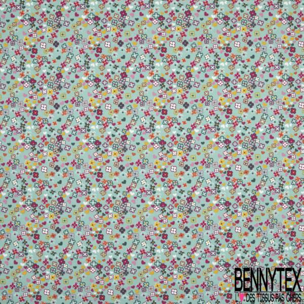 Jersey Coton Elasthanne Imprimé Petite Fleur Sauvage Multicolore fond Vert Glacé