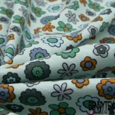 Jersey Coton Elasthanne Imprimé Petite Fleur des Champs Seventies fond Vert d'eau