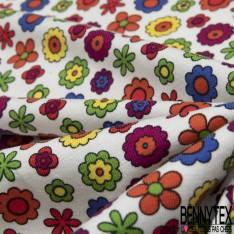 Jersey Coton Elasthanne Imprimé Petite Fleur des Champs Seventies fond Blanc
