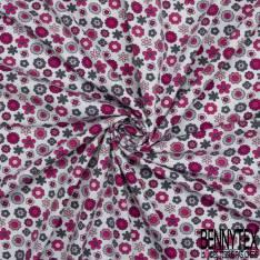 Jersey Coton Elasthanne Imprimé Petite Fleur des Champs Seventies fond Perle