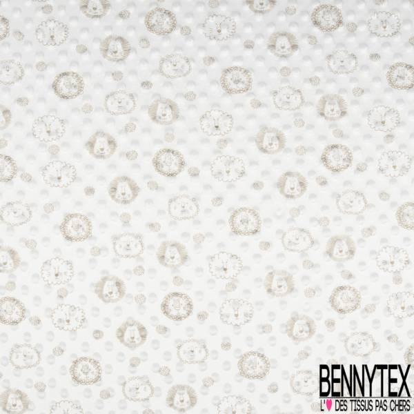 Minky Pois effet Gaufré imprimé Tête de Lion Beige fond Blanc