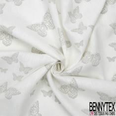 Toile Lin Souple Fin imprimé Papillon Gris fond Blanc