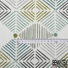 Toile Lin Souple imprimé Losange Strié Canard Vert Gris Blanc Taupe fond Blanc
