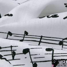 Toile Lin Souple imprimé Partition de Musique Noir fond Blanc