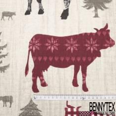 Gabardine Coton Imprimé Vache de Hautes Montagnes en Pâturage Rouge Noir Gris fond Fantaisie