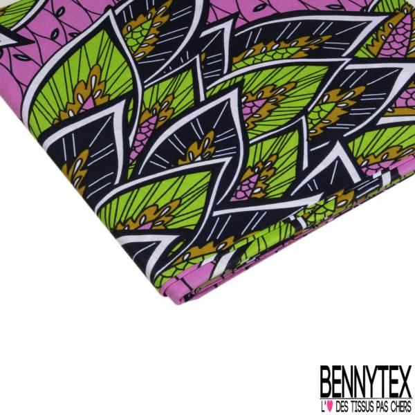 Wax Africain N° 892: Motif Bouquet de Feuille Exotique fond Rose Fantaisie