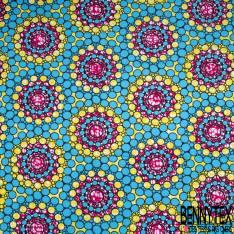 Wax Africain N° 893: Motif Spirale de Rond Bleu Marbré Jaune Fushia