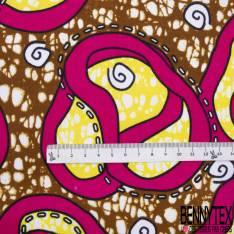 Wax Africain N°900: Motif Tulipe 3D Stylisée Fushia Marbré Jaune fond Marbré Ocre