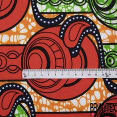 Wax Africain N°905: Motif Abstrait Fantaisie Orange Brûlé fond Marbré Anis Orange