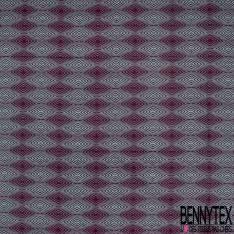 Wax Africain N°906: Motif Psychédélique Sinusoïdale Bleu Givré Prune