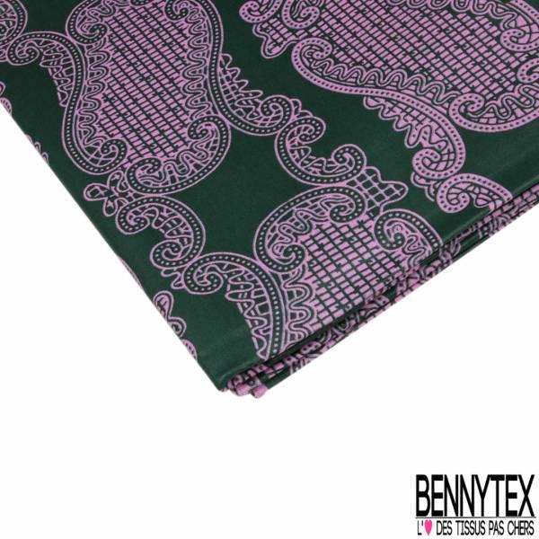 Wax Africain N°920: Motif Cachemire Rose fond Vert Anglais
