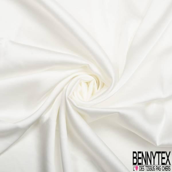 Satin Polyester Toucher Soie Blanc Cassé