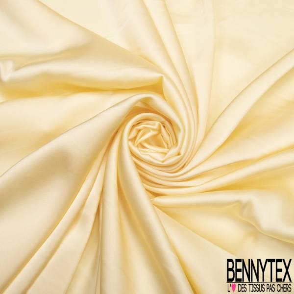 Satin Polyester Toucher Soie Jaune Pastel