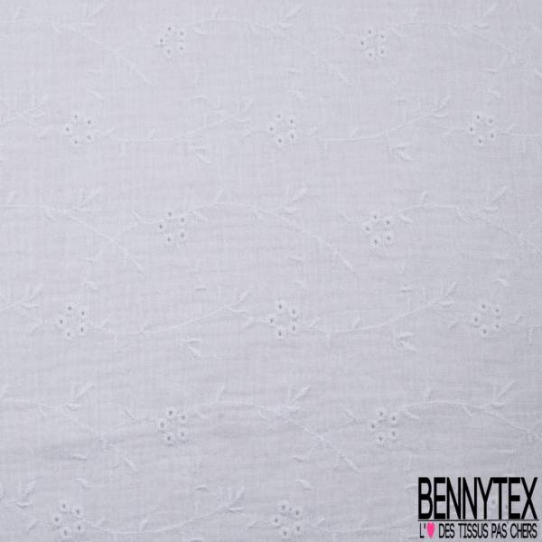 Coton Double Gaze Broderie Anglaise Blanc Optique