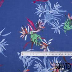 Voile de Coton Imprimé Tropicale fond Bleu Roi