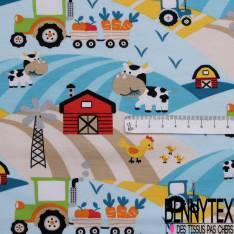 Jersey Coton Elasthanne Imprimé Tracteur Animaux et Ferme ton Bleu