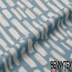 Fibranne Viscose imprimé Impression Mur de Brique Blanche fond Bleu de Gris