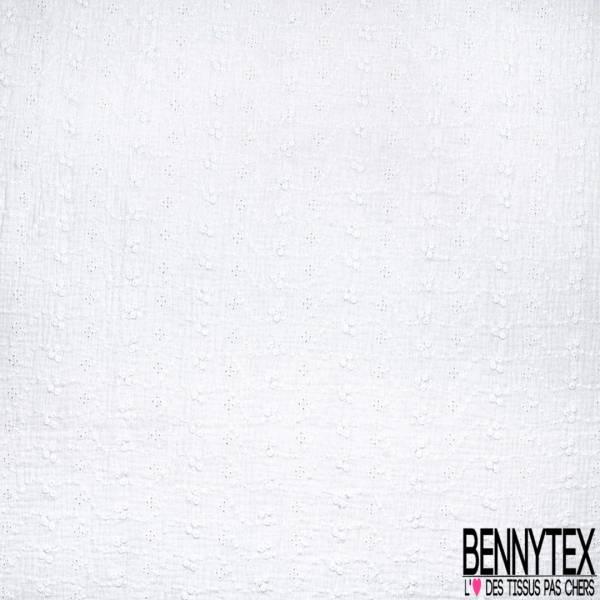 Coton Double Gaze Broderie Anglaise Blanc Cassé
