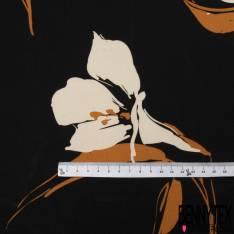 Panneau Fibranne Viscose imprimé Grande Fleur Stylisée Chair Ocre fond Noir Bande Ocre