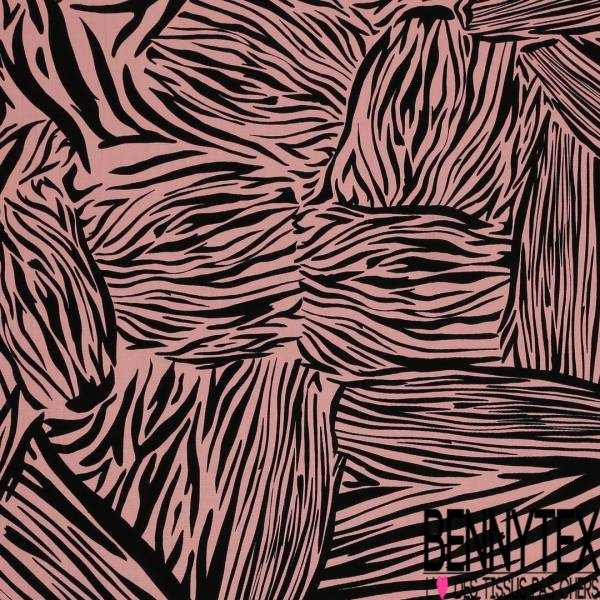 Crêpe Polyester Imprimé Zèbre Noir fond Rose Poudré