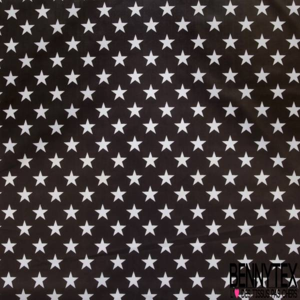 Coton Enduit Impression Grosse Etoile Blanche fond Choco Linna Morata