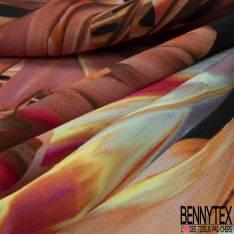 Crêpe Polyester Imprimé Feuille de Bananier Tropicale
