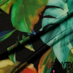 Maille Cristal Motif Feuille de Bananier Tropical Multicolore fond Noir