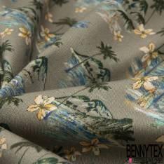 Gabardine Coton Elasthanne Imprimé Ile Tropicale Paradisiaque fond Taupe