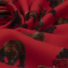 Crêpe Viscose Imprimé Motif Ours Brun fond Rouge Vif