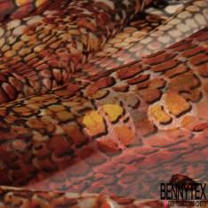 Dévoré de Soie Viscose Imprimé Peau de crocodile ton Rouille Kaki Ecru base Mousseline