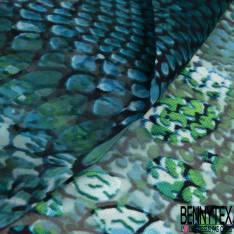Dévoré de Soie Viscose Imprimé Peau de Crocodile ton Bleu Vert Ecru base Mousseline
