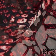 Dévoré de Soie Viscose Imprimé Peau de Bête ton Rouge Noir Ecru base Mousseline