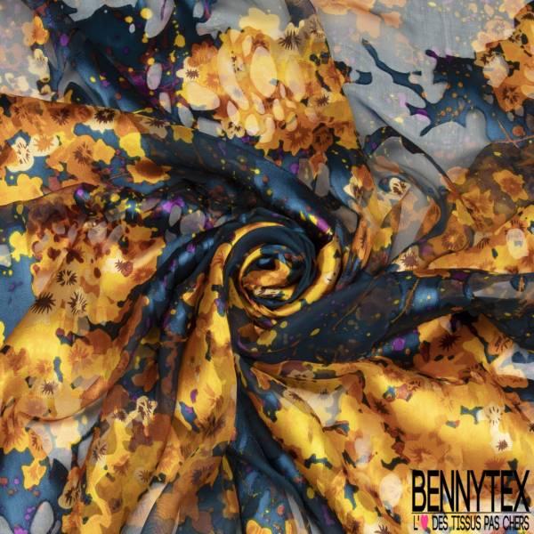 Dévoré de Soie Viscose Imprimé Floral Jaune Or base Mousseline Marine