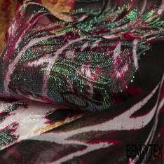 Dévoré de Soie Viscose Lurex irisé Imprimé Peau de Bête ton Bordeaux Ocre Noir base Mousseline