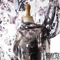 Dévoré de Soie Viscose Imprimé Floral Abstrait ton Prune Noir Blanc base Mousseline
