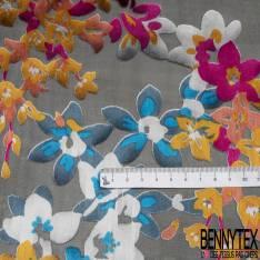 Dévoré de Soie Viscose Imprimé Petite Fleur Champêtre Multicolore base Mousseline Noir