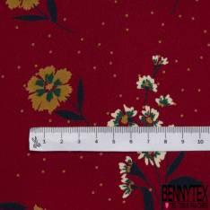 Microfibre Imprimé Motif Floral Rétro Multicolore fond Rayure Fine Verticale Beige Blanc