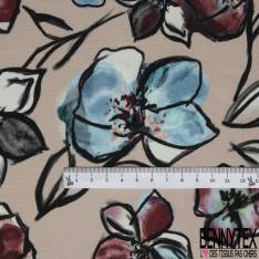Crêpe Viscose Imprimé Motif Floral Graphique Aquarellé fond Beige Rosé