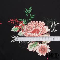 Double Satin Polyester Imprimé Floral Champêtre Multicolore fond Noir