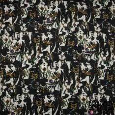 Satin Polyester Imprimé Floral Esprit Japonisant fond Noir