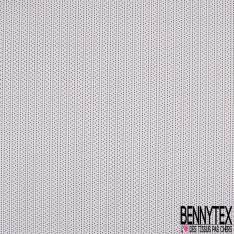 Voile de Coton Imprimé petit Pois Noir Rose Beige fond Blanc