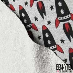 Molleton Léger Bouclette Motif Fusée de l'Espace Rouge Noir fond Gris Chiné