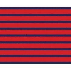 Coton Imprimé Gauthier Rayures Bleues fond Rouge