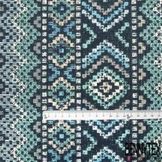 Coton Impression Fleur Stylisée Naïve Verte Feuille Chair fond Noir
