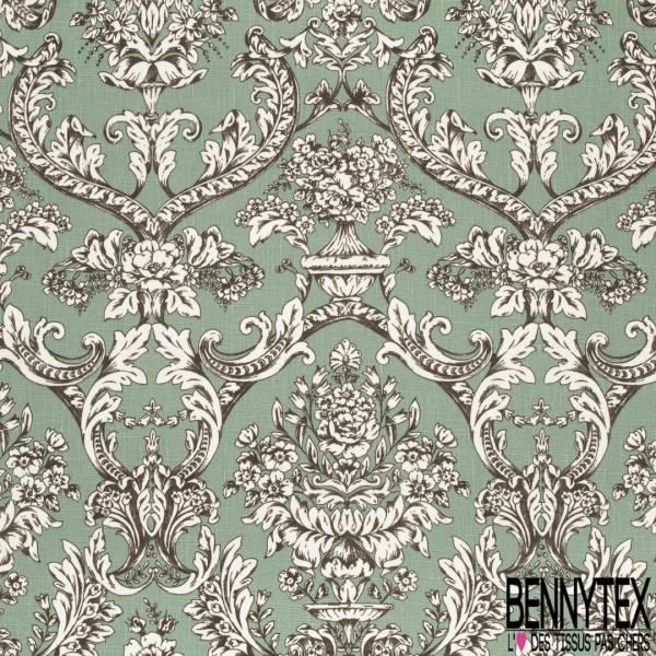 Toile Lin imprimé Floral Baroque fond Amande