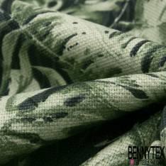 Toile de Coton Imprimé Tropicale Feuille de Bananier ton Vert fond Noir