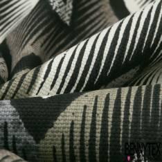 Toile de Coton Imprimé Losange Strié Ethnique ton Naturel
