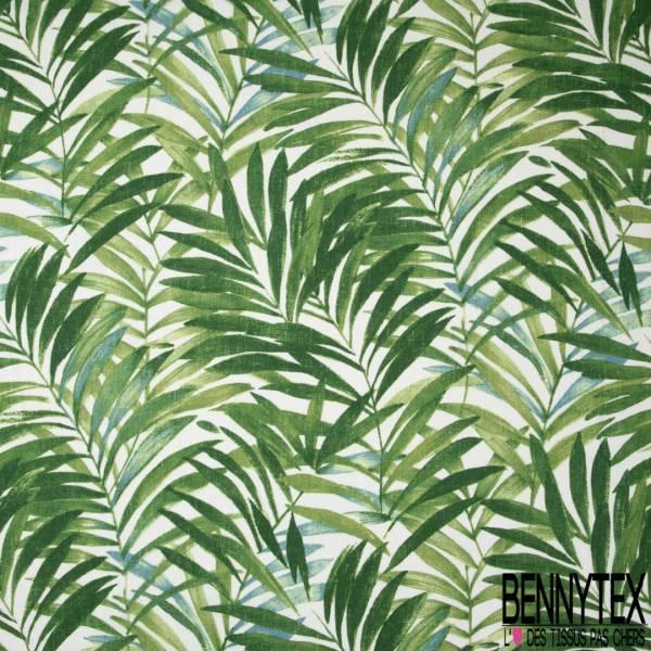 Toile Lin imprimé Plante Tropicale ton Vert