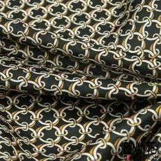 Satin Polyester Imprimé Peau de Serpent Ton marron Taupe